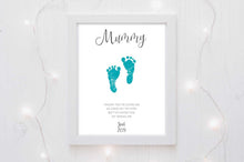 Baby Footprint Gift Ideas for Fathers Day - Custom Gold foil print for Fathers Day or Dads Birthday
