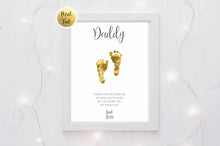 Fathers Day Baby Footprint Personalised Gold Foil Print - a touching gift for Daddy