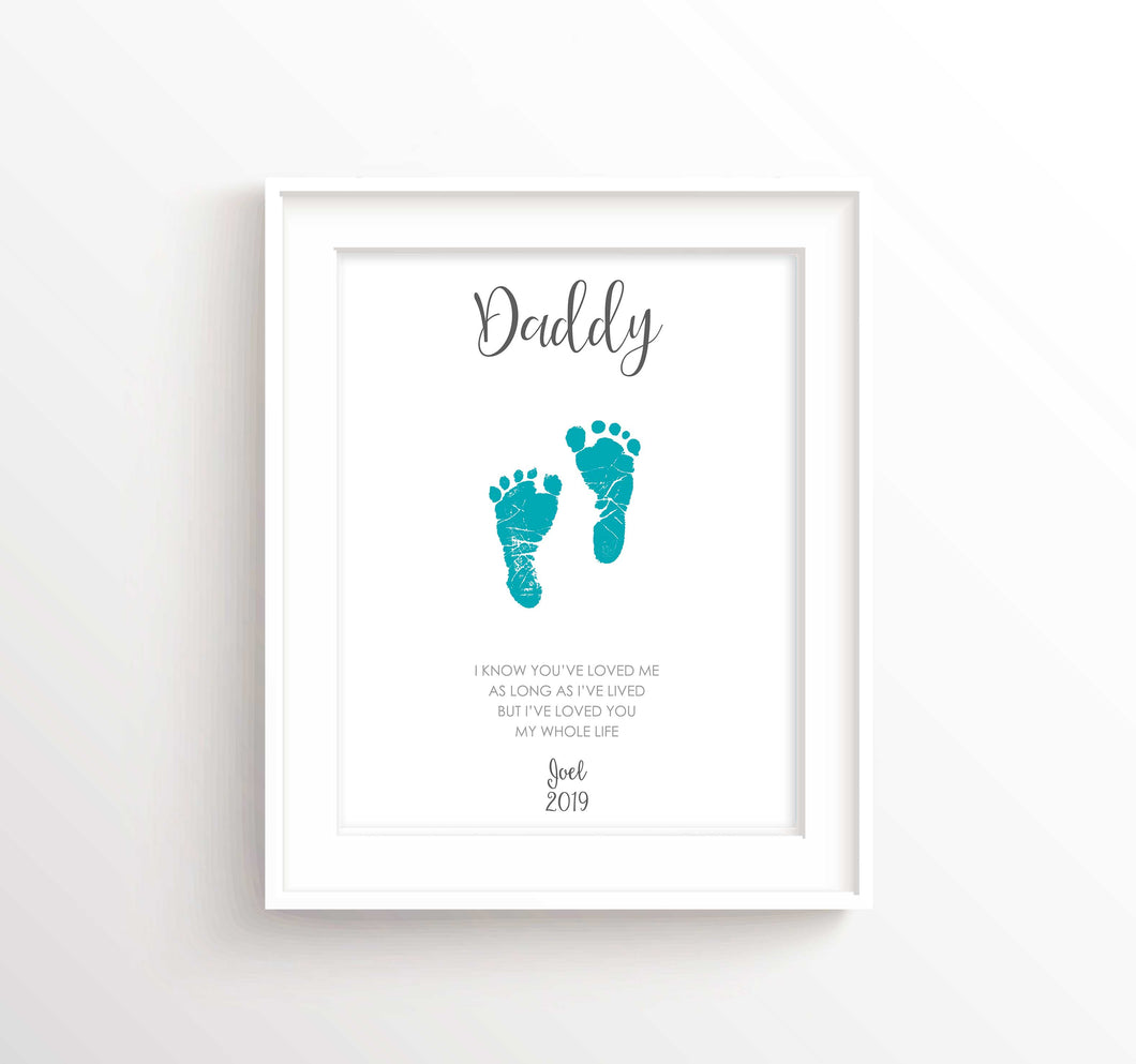 Footrpint Art for Dad Gifts from Baby, Fathers Day Gift from Baby