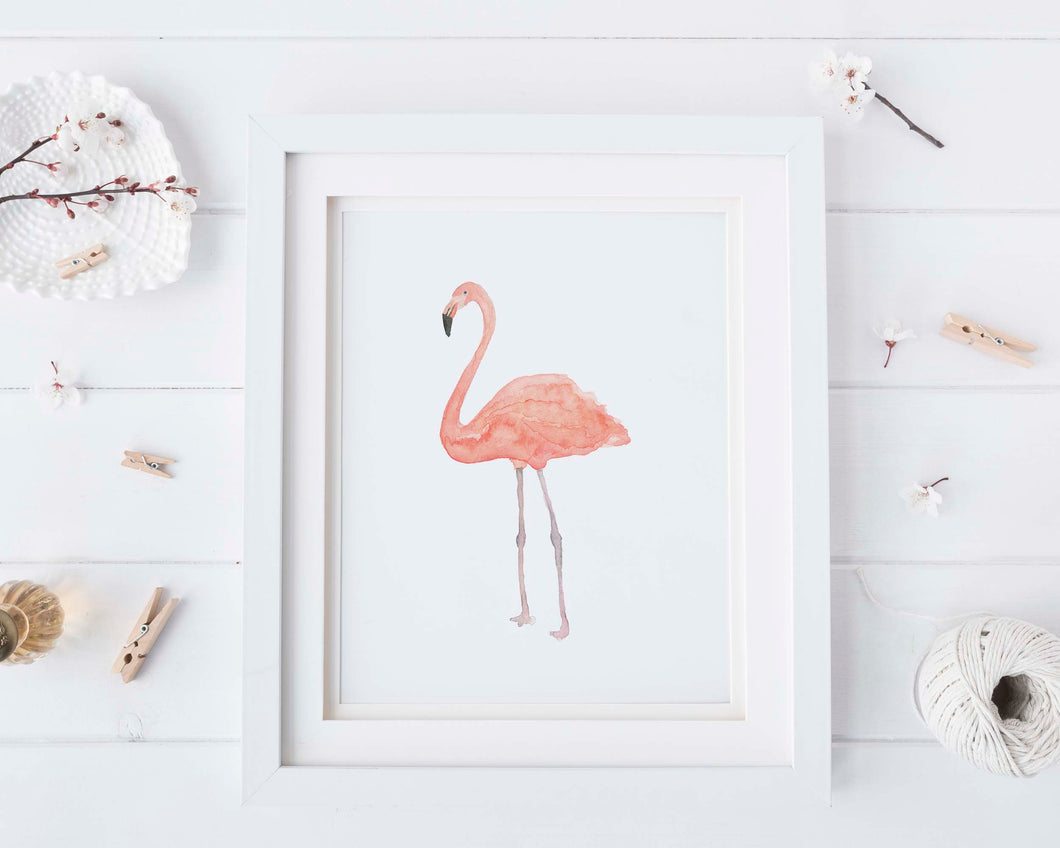 Flamingo Watercolour, Flamingo Wall Art, Flamingo Watercolor Art