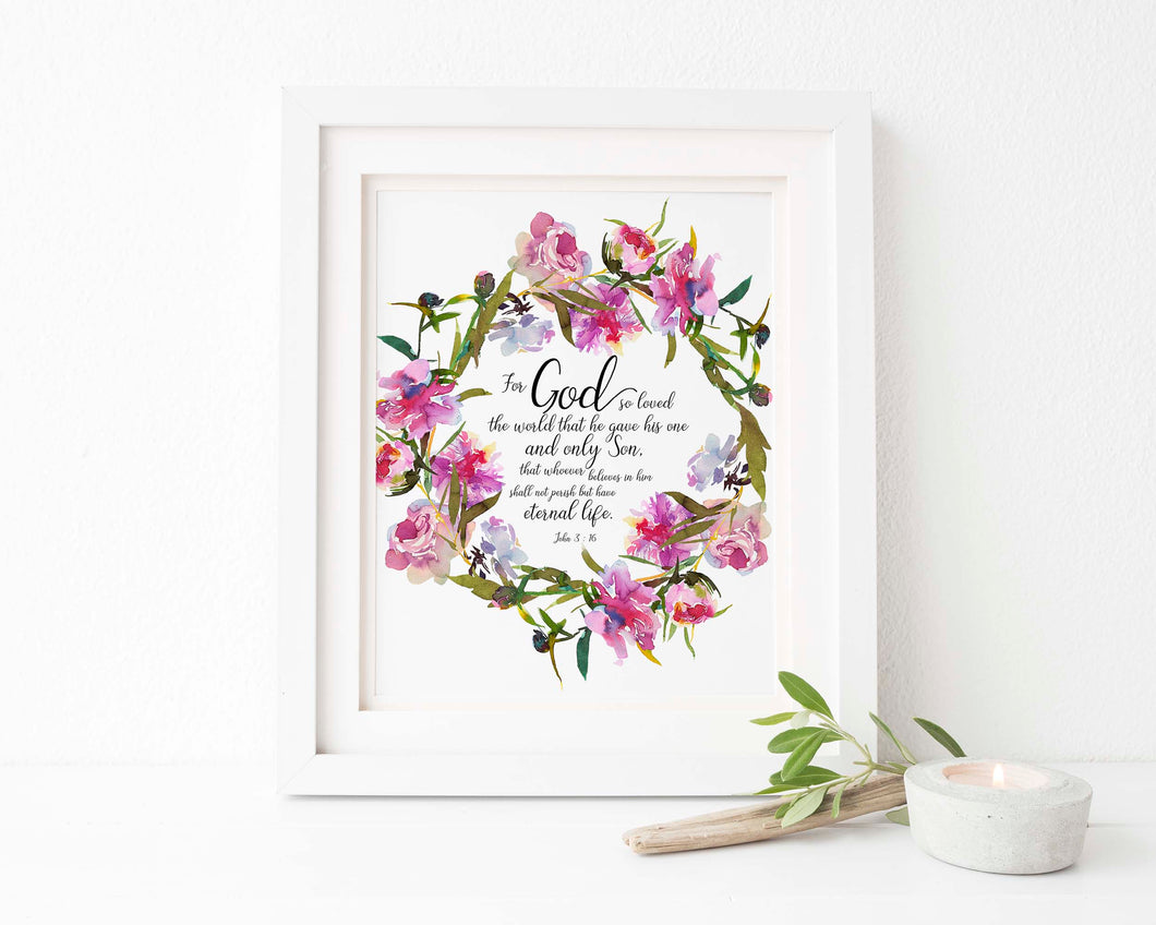 John 3 16 Wall Art Bible Print, For God So Loved The World Poster, for God so Love the World Pictures, bible verse print
