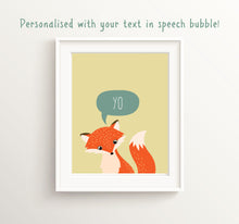 Fox Nursery Print, custom quote prints, custom quote prints uk, custom quote poster, custom qutoe wall art