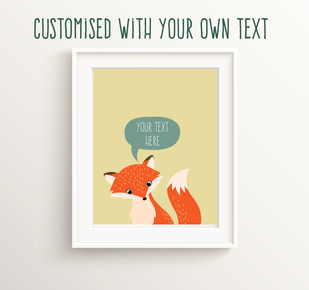 Custom Quote Nursery UK, Fox Nursery Art, Personalised Nursery Decor, Fox Nursery Decor, Fox Nursery Theme