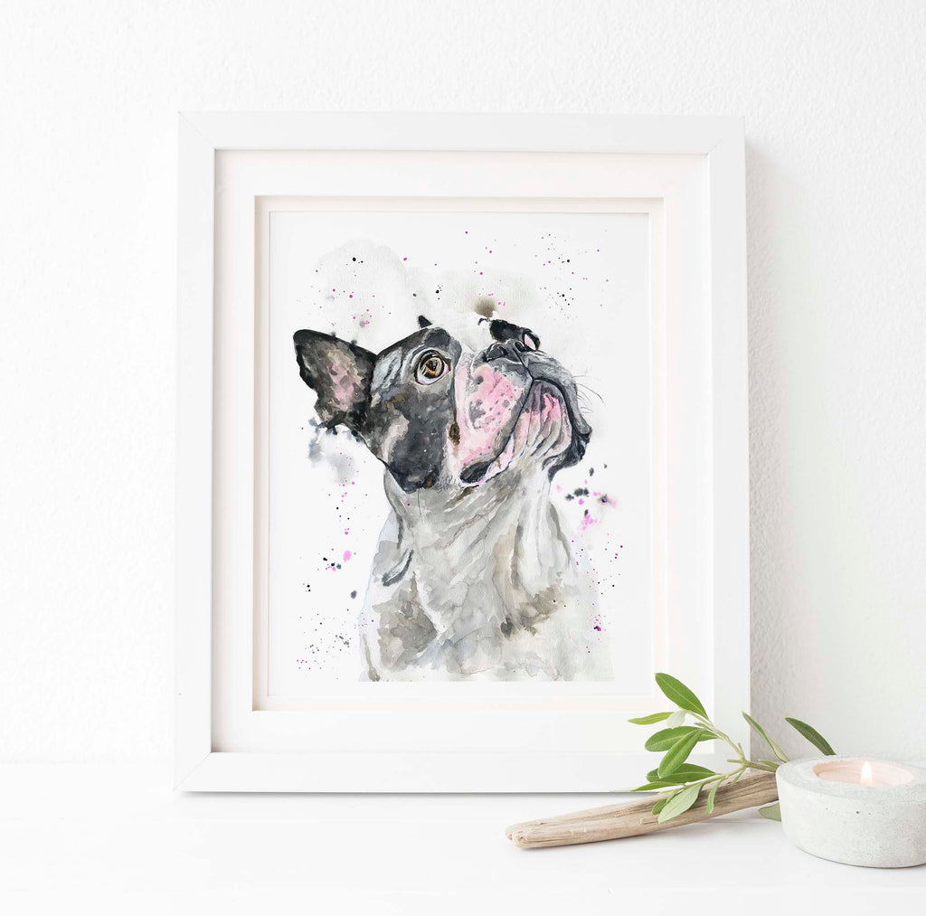French Bulldog Wall Art UK, Frenchie Gifts, Frenchie Watercolor Art, French Bulldog Prints UK, french bulldog wall decor
