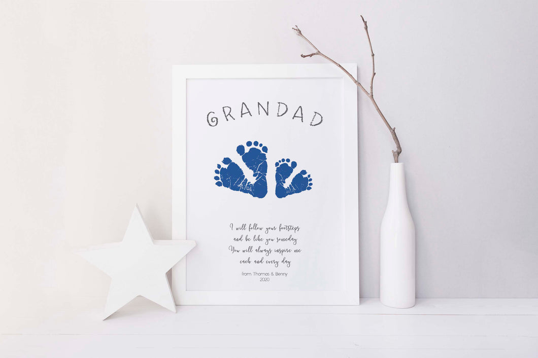 Grandad Fathers Day Gift for Grandad Idea, Footprint Kits for Babies, Gift for grandparents, gift for grandpa gift idea