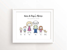 Gift for Grandparents, Mothers Day Gift for Grandma, Family Portrait