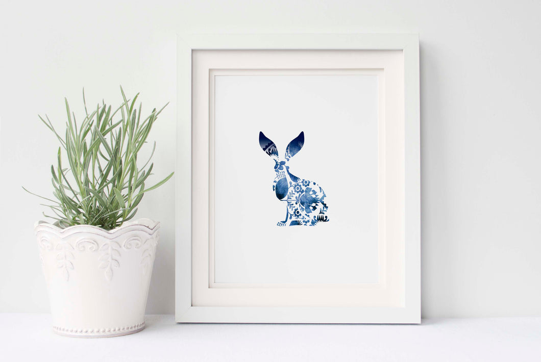 Folk Art Hare Print UK, Gzhel Art Print, Polish Folk Art, Rabbit Art
