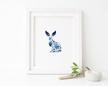 Hare Art Print, Folk Art Print, Gzhel, Russian Folk Art, Indigo Print, Hare Art, Watercolor Rabbit, Wildlife Prints