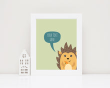 Hedgehog Wall Art Nursery, custom quote prints, custom quote prints uk, custom quote poster, custom quote wall art