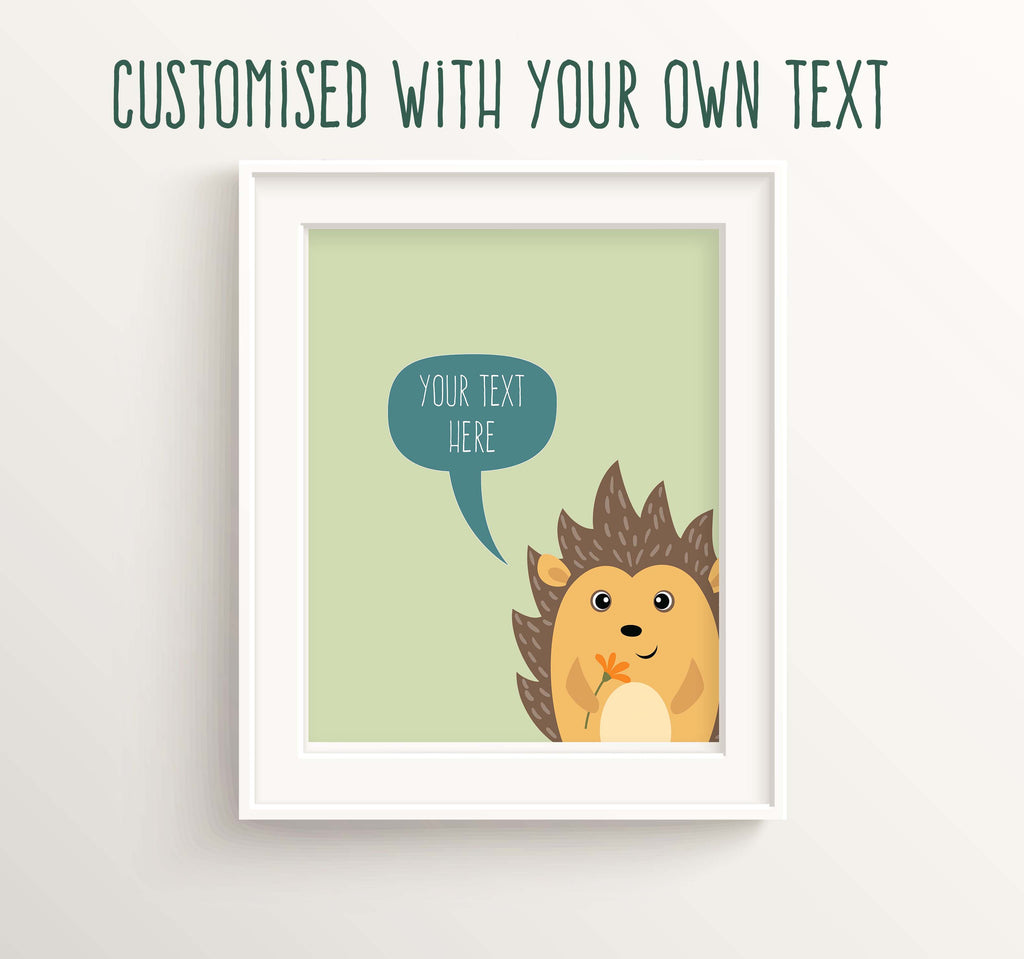 Hedgehog Nursery Decor, Custom Quote Nursery UK, Woodland Nursery Prints, Woodland Nursery Decor, custom quote wall art