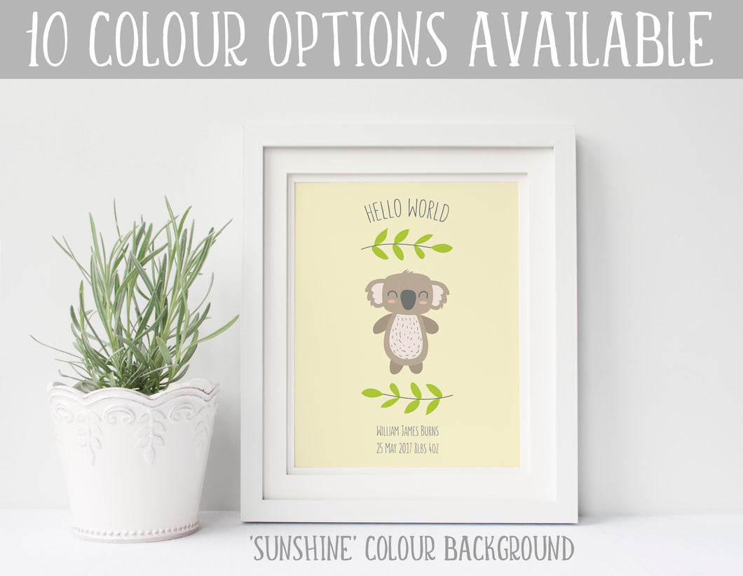 Koala Nursery Decor, Koala Nursery Print, Hello World Print for Nursery, Custom Nursery Prints, Koala Print, Koala Baby
