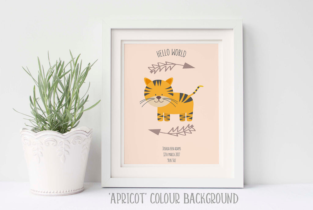 nursery tiger pictures, nursery tiger decor, nursery tiger print, nursery tiger wall art, birth details print, baby gift