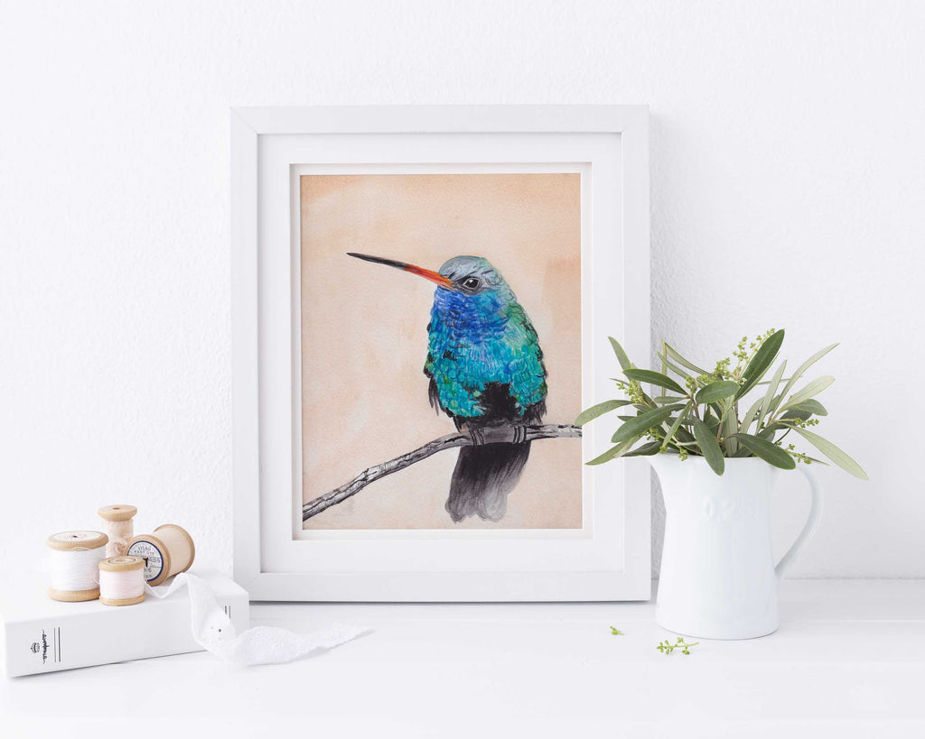 Watercolour Hummingbird Print, Hummingbird Wall Art UK, Bird Print