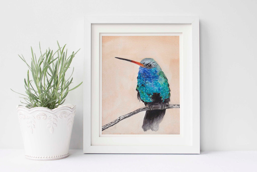Hummingbird Wall Art, Hummingbird Print, Hummingbird Illustration, Hummingbird Watercolor, Hummingbird Watercolour