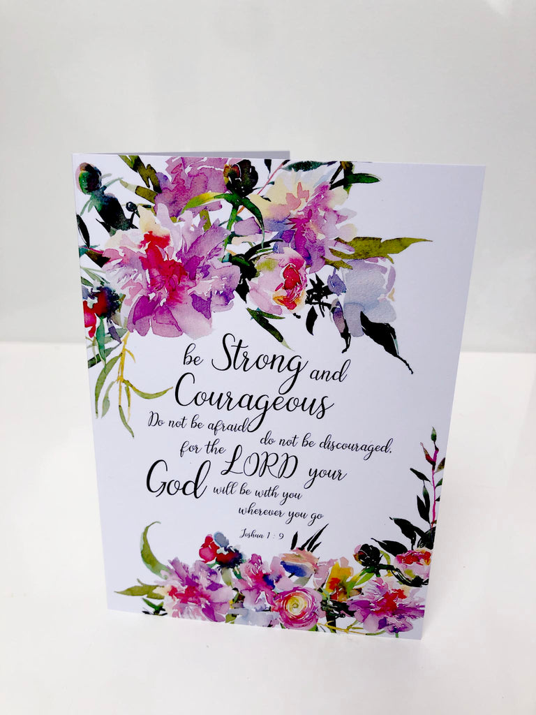 christian all occasion greeting cards, christian inspirations greeting cards, be strong and courageous card, joshua card