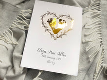 Baby Boy Footprints Birth Details Print - capture your baby's footprint in gold foil for posterity