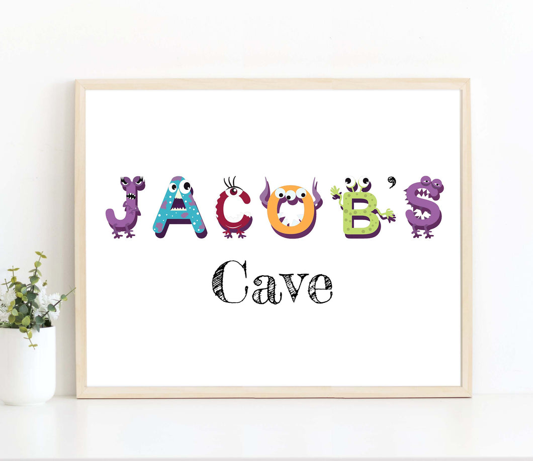 Personalised Name Wall Art for Nursery, Baby Boy Monster NurseryKids Name Wall Art Print,