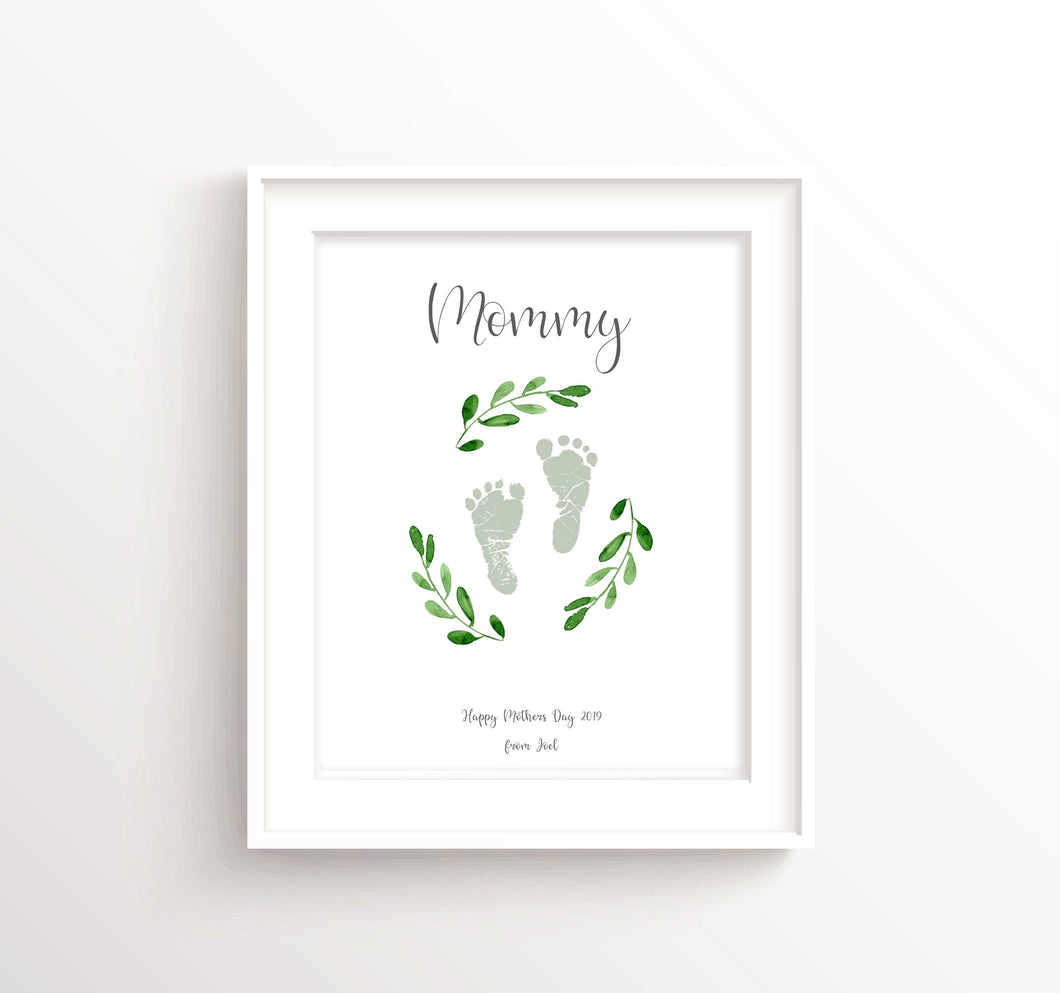 Baby Footprint Wall Art, Personalised Mothers Day Gifts from Baby, baby footprint art for mother's day, mothers day gift