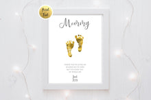 baby footprint art for mum, baby footprint gift, gold foil baby footprints, baby footprint gifts, baby feet prints