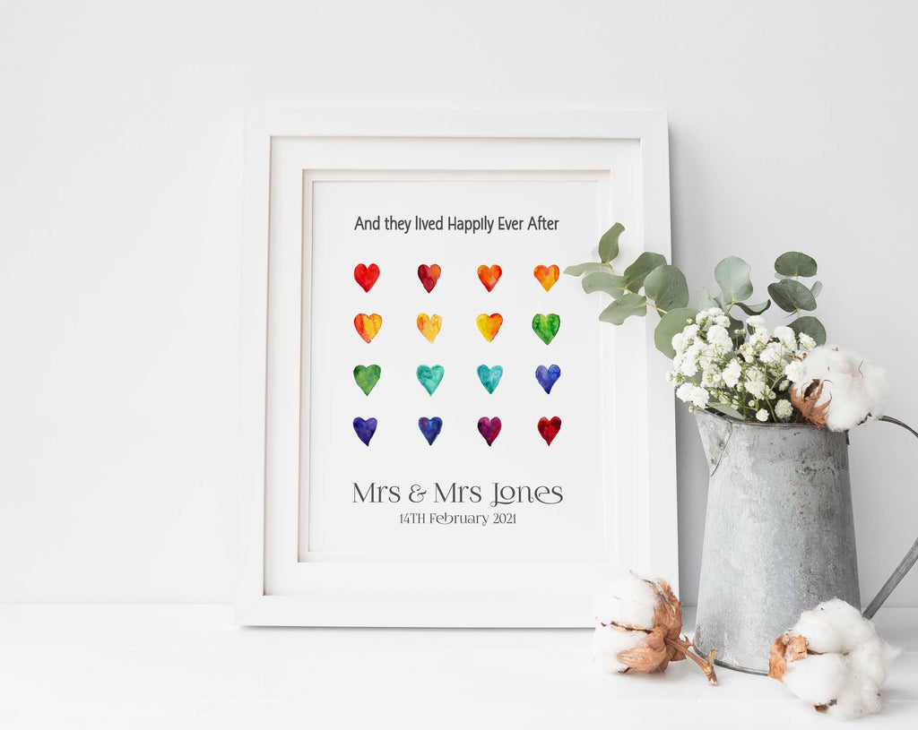 Custom Rainbow Heart Wedding Print, Lesbian Valentines Day Gifts, lesbian anniversary gifts, lgbt gifts for girlfriend
