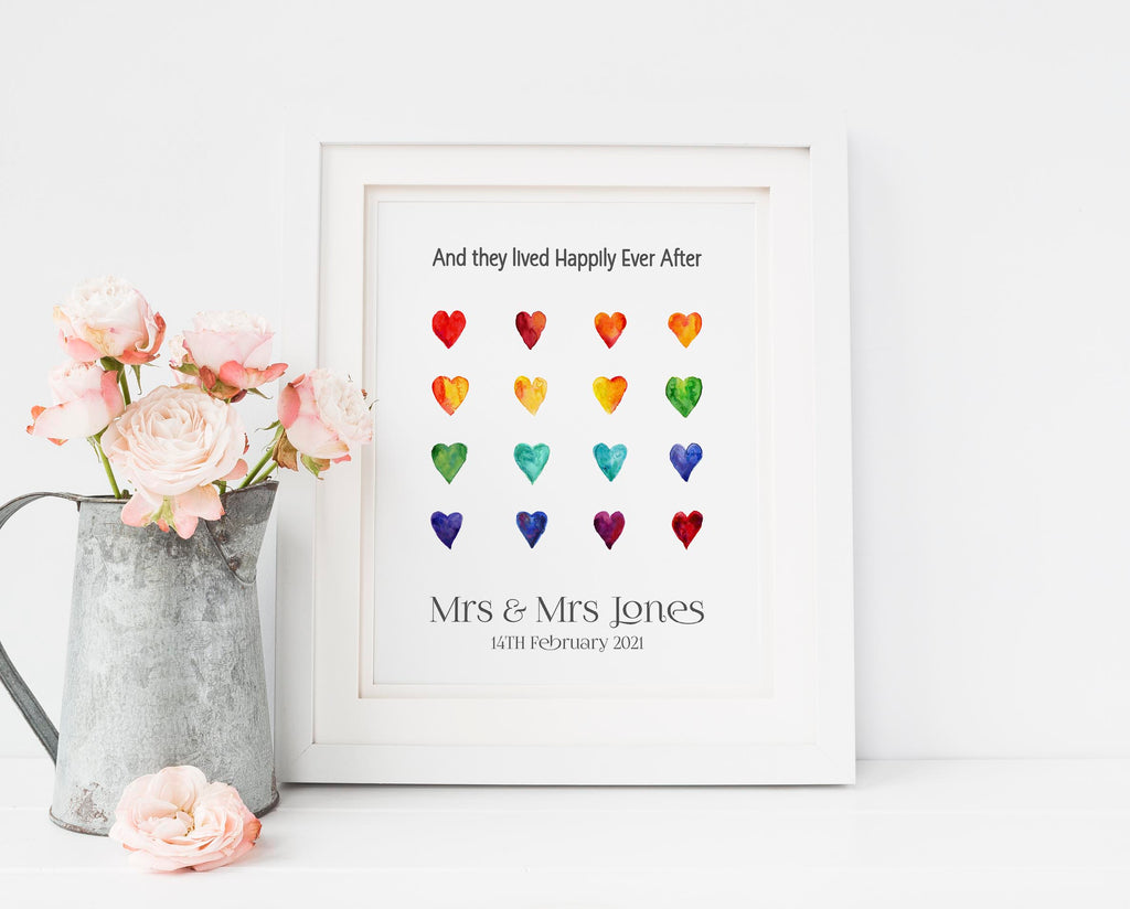 Personalised Mrs & Mrs Lesbian Wedding Gifts, Gay Wedding Gifts UK