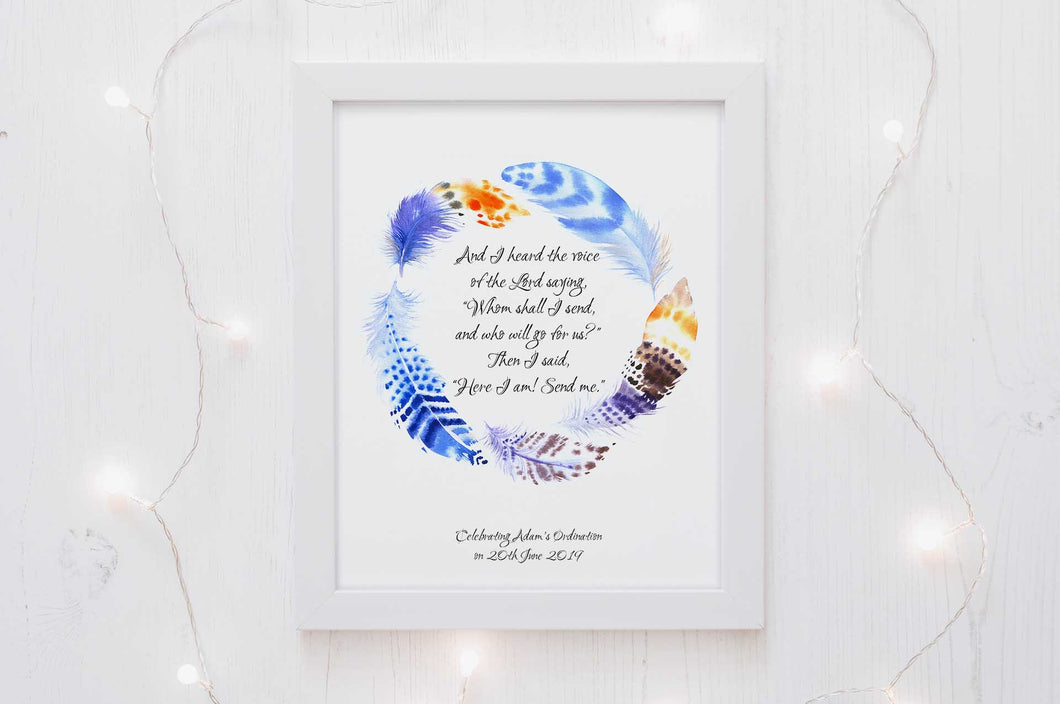 Personalised Ordination Gifts, Isaiah 6 8 Bible Verse Poster - Here am I send me, Vicar Gifts for Ministers Idea