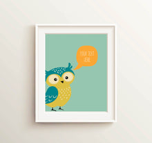 personalised nursery wall art, owl poster nursery, owl nursery pictures, owl nursery printables, Kids Name Sign