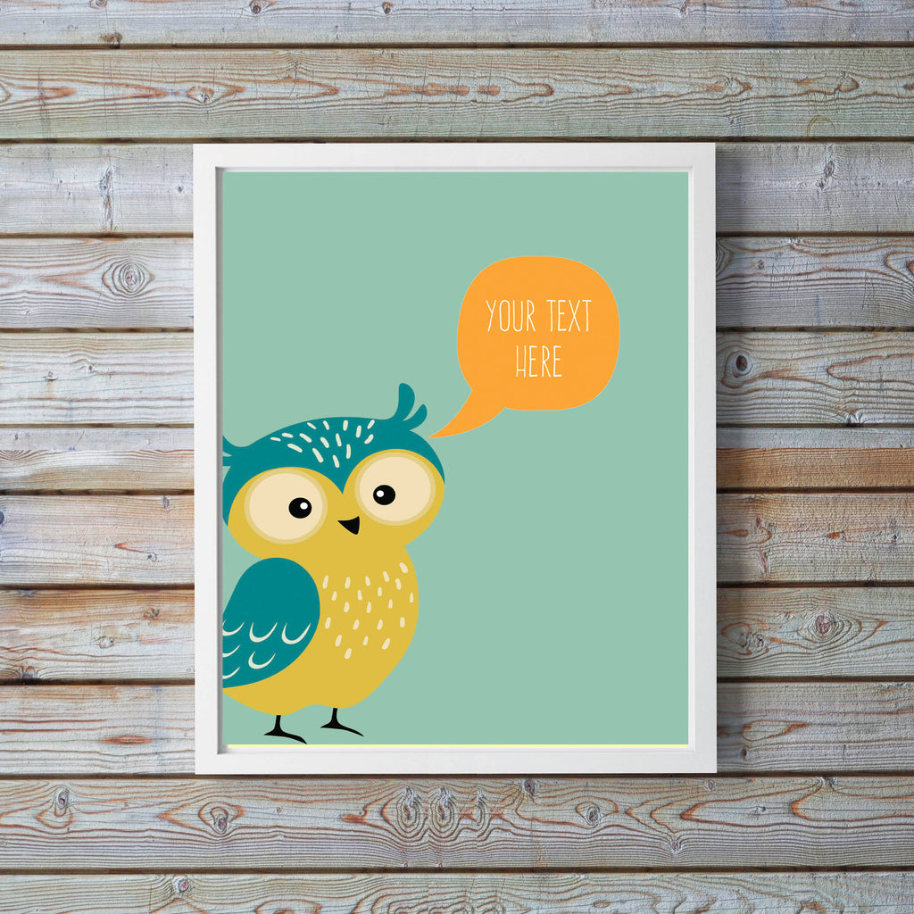 custom quote poster, custom quote wall art, personalised nursery prints, personalised nursery decor, Owl Nursery Prints