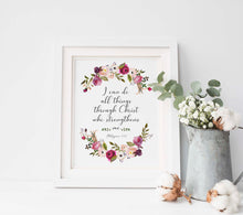 I Can Do All Things Through Christ Wall Art, Philippians 4 13 Poster, philippians 4 13 pictures, Floral Bible Quotes