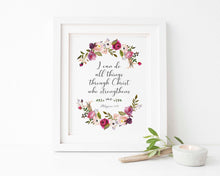 I can do all things through Christ who strengthens me, Christian Home Decor, Printable Bible Verse Prints, Bible Verse