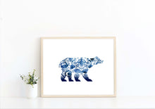Polish Folk Art, Russian Folk Art, Gzhel Folk Art, Blue Folk Art, Abstract Polar Bear, abstract painting of polar bear