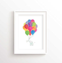 Elephant Nursery Wall Art Print, Kids Room Rainbow Playroom Accessories, Gender Neutral Baby Gifts
