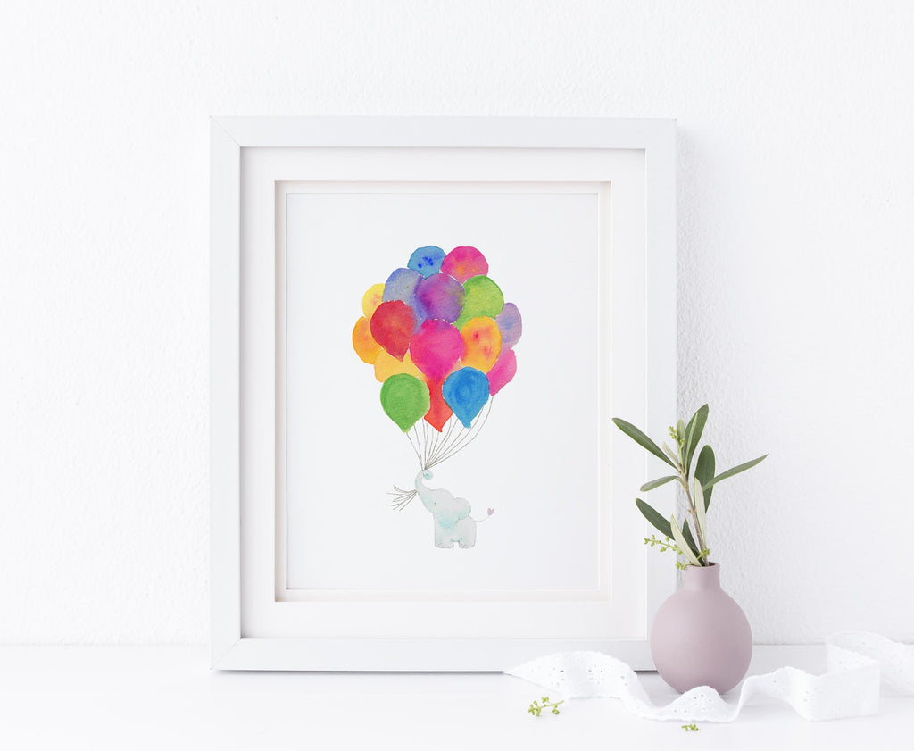Watercolor Elephant Nursery Art, Rainbow Elephant Print Wall Art, Elephant Nursery Wall Art Print
