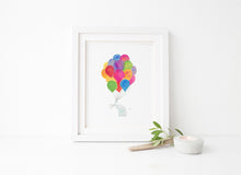 Rainbow Elephant Art Print, Watercolour Elephant Wall Art, New Baby Elephant Gift, Elephant Nursery