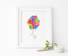 Watercolor Elephant With Balloons Art, Rainbow Watercolour Print, Elephant Nursery Wall Art Print