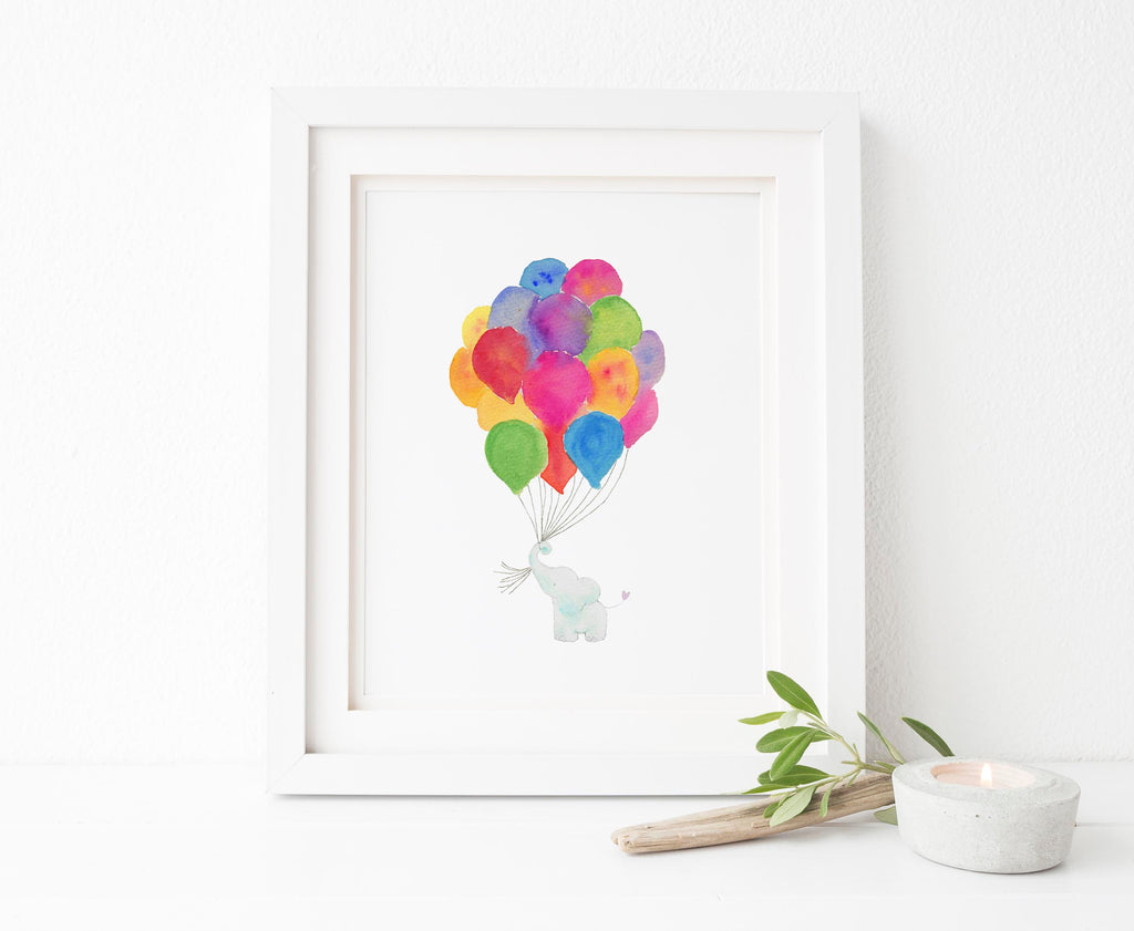 Elephant Umbrella Baby Shower, Elephant Nursery Picture, watercolor elephant baby, elephant nursery decor uk