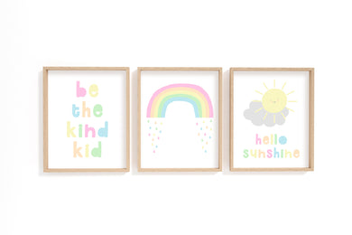 Pastel Rainbow Wall Art, Pastel Nursery Decor, Pastel Nursery Prints, Be the kind kid poster, hello sunshine print