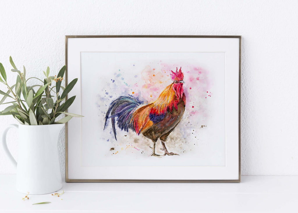 Rooster Wall Art for Kitchen, Chicken Print, Cockerel Picture Watercolor, watercolor rooster paintings, watercolour art