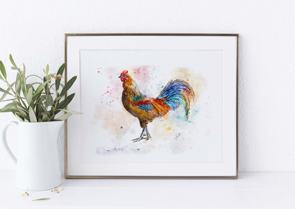 Farm House Decor, Country Kitchen Decor, Chicken Watercolor A4, farmhouse decor uk, modern farmhouse decor ideas