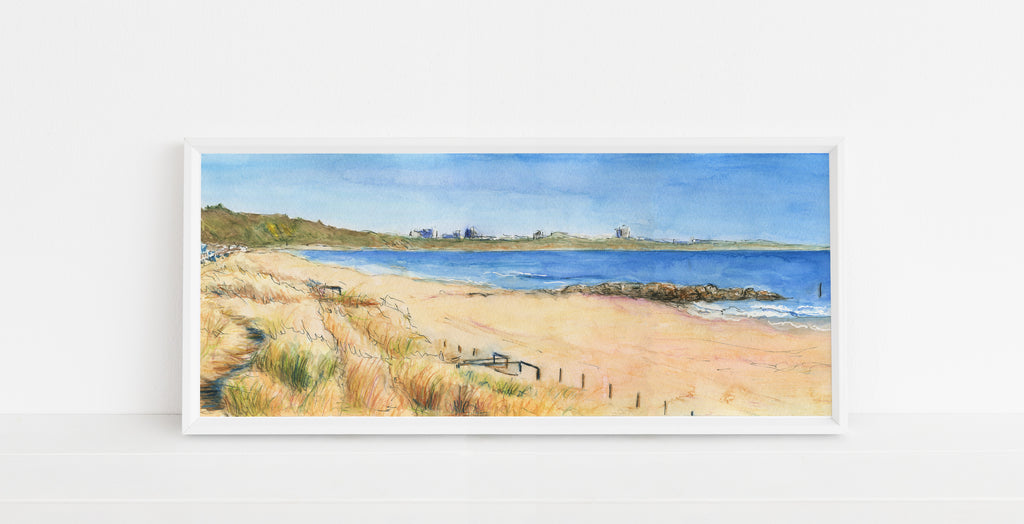 Sandbanks Beach Poole Artwork Wall Art, Dorset Watercolour Prints, prints of dorset coast, dorset poster art