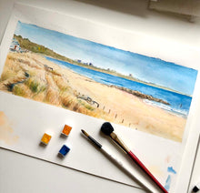 beach watercolour print, watercolour prints, sea art print, coastal wall art uk, watercolour prints for sale uk