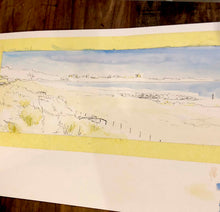 watercolour print of dorset coast, dorset artist, sandbanks beach, shore road, jurassic coast, seascape watercolour