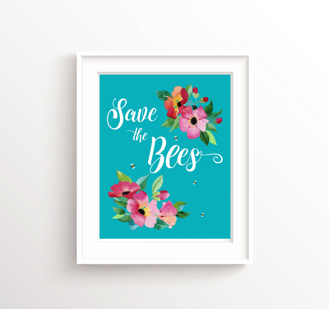 Save the Bees Poster, Bee Wall Art, Bee Wall Decor, Climate Change Poster, Bee Wall Art UK