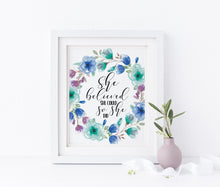 She Believed She Could So She Did Print, Inspirational Nursery Wall Art