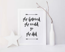 Feminist Quote Print, She Believed She Could So She Did, Wall Art Inspirational Quote Print, Feminist Poster Quotes