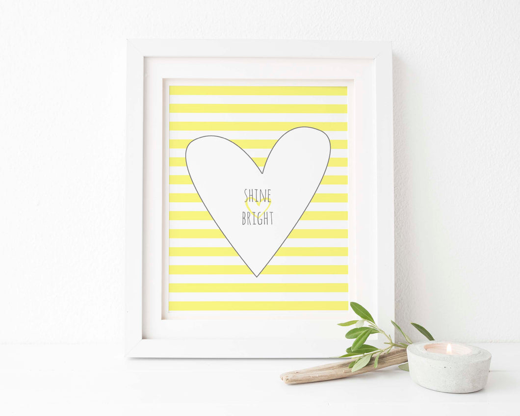 Shine Bright Nursery Wall Art Print, Yellow and Grey Nursery Ideas, yellow and grey baby nursery, new baby room decor