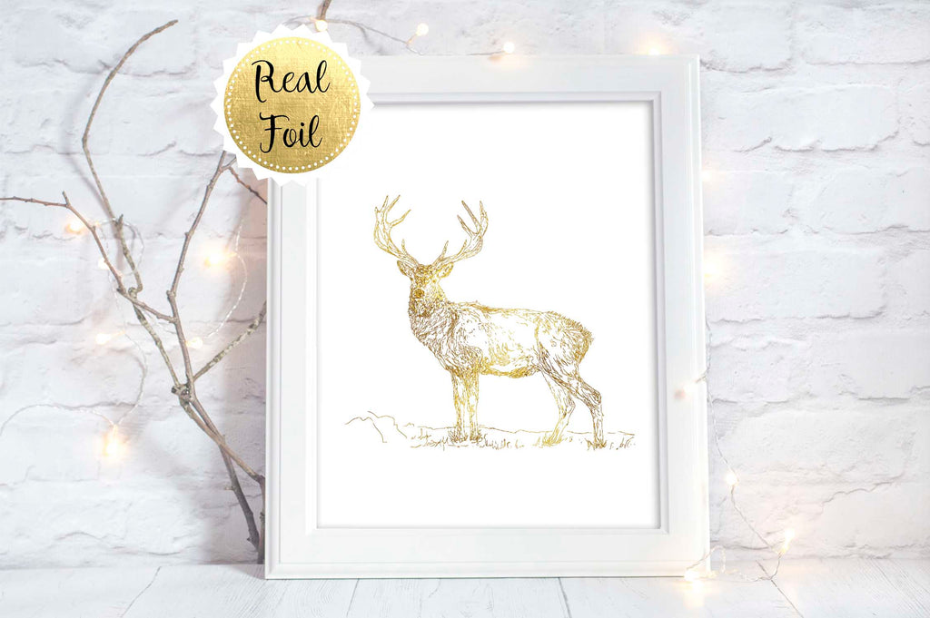 Gold Stag Picture, Deer Wall Art Print, Stag Art Print, Buck Art A4, Gold Wall Art Gift for Husband, Deer Wall Decor