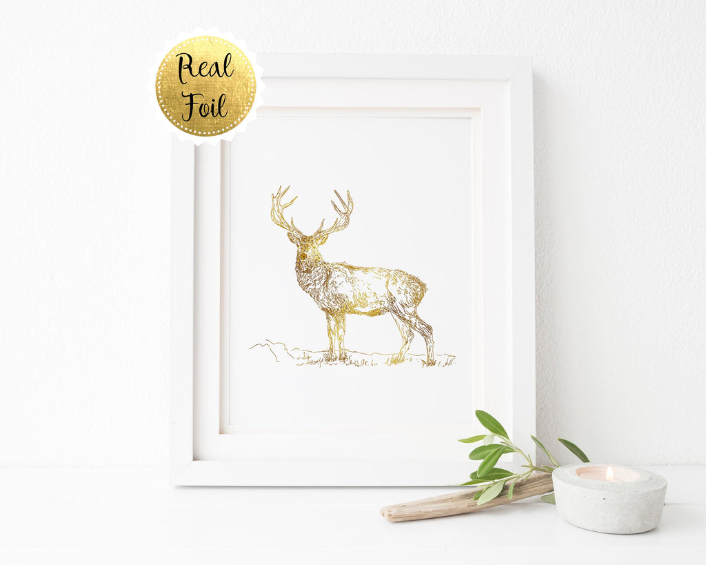 Stag Print, Stag Art, Deer Print, Deer Art, Deer Wall Decor, Gold Foil Picture, Gold Wall Art Gift for Husband