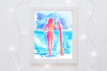 Surfer Girl Wall Art, Surfer Girl Art, Surf Art, Surf Girl Wall Art, Surfer Wall Art, Surfer Watercolour Print