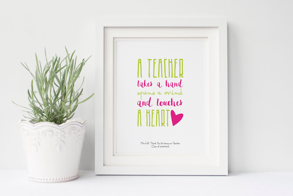 A Teacher Takes a Hand Printable / Wall Art Print, Thank You Teacher, nursery teacher gifts, thank you teacher gifts